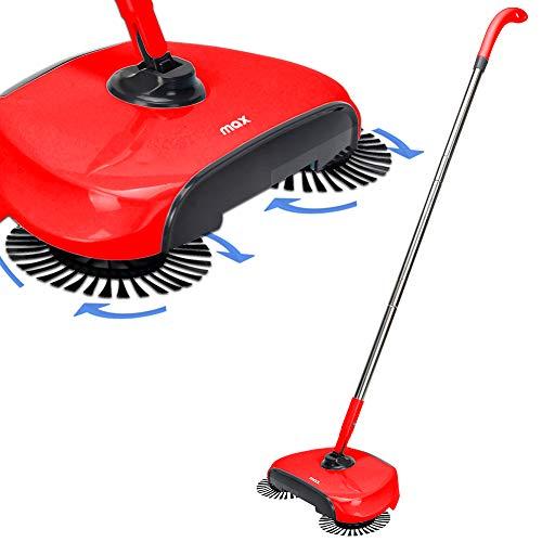 Bakaji Home Scopa Rotante Easy Aspirapolvere Pavimenti a Pressione con Setole Rotanti a 360° e Asta in Acciaio Inox Senza Sacchetto Dimensione 35 x 20 x116 cm