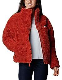 Columbia Lodge Chaqueta con Polar de Sherpa Guateada para Mujer, Rojo (Dark Sienna), L