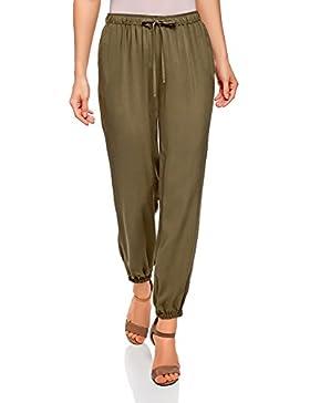 oodji Ultra Mujer Pantalones de Viscosa con Jaretas