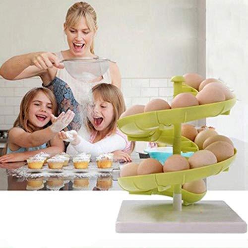 SO-buts Ei Spirale Rack Storage Dispenser Obst Halter Design Küchenaccessoire Display, Spirale Ei Obst Lagerregale und Regale für Speisekammer (Grün) -