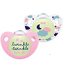 Nuk Trendline Night & Day Glow Effect Pacifiers 18-36 Months Silicone BPA Free (Pink)