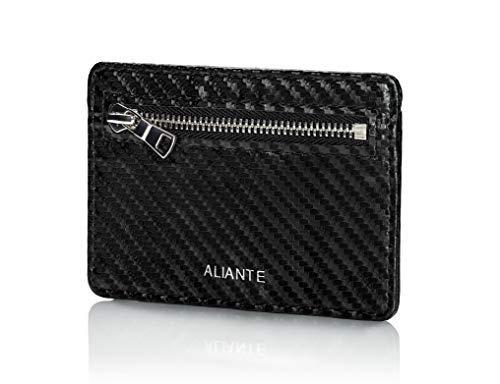 ALIANTE - Cartera para Hombres, Slim y pequeña, Tarjetero con Bloqueo RFID (Fibra de Carbono)