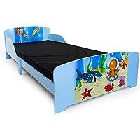 Preisvergleich für Homestyle4u 1215, Kinderbett, Motiv Fische Meer, Holz Blau Bunt, 90x200 cm
