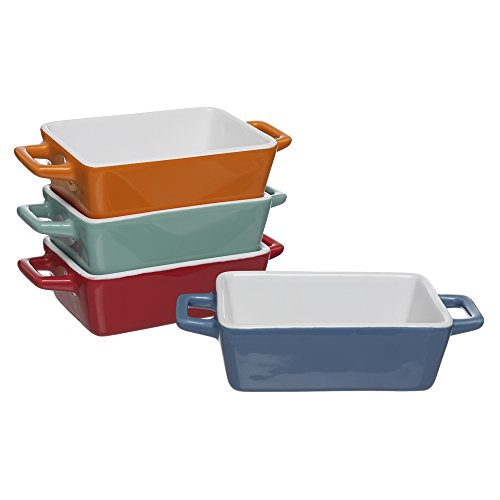 Invero® 4x Set of Mini Stoneware Rectangular Coloured Small Oven to Table Baking Dish ideal for Lasagne, Pies, Casserole, Tapas and more