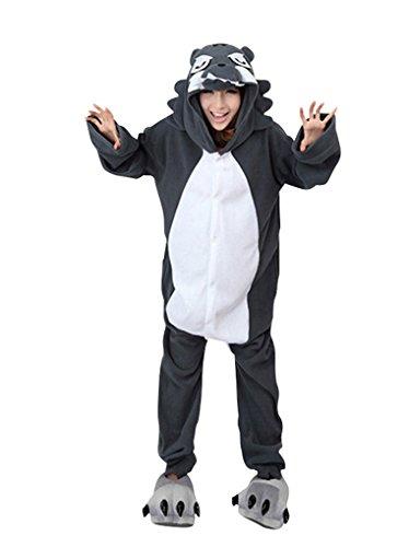 MissFox Jumpsuit Tier Cartoon Fasching Halloween Kostüm Sleepsuit Cosplay Fleece-Overall Pyjama Schlafanzug Erwachsene Unisex Kigurumi Tier Onesize Wolf