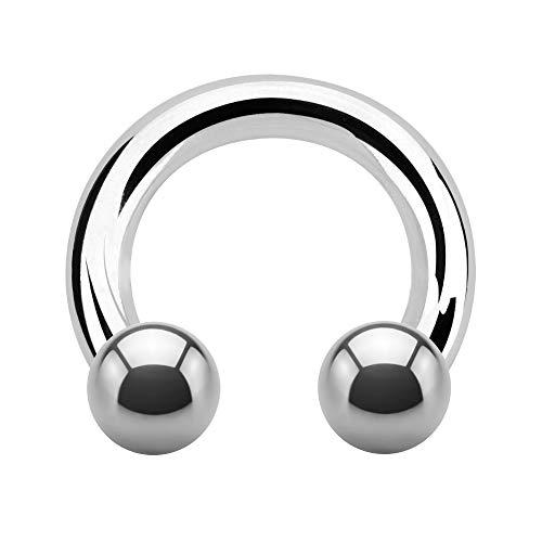 Treuheld® | Großer Hufeisen Piercing Ring | 6mm x 16mm | Kugeln 10mm | Chirurgenstahl | Silber | Circular Barbell für Intim, Ohr, Nase, Brustwarze