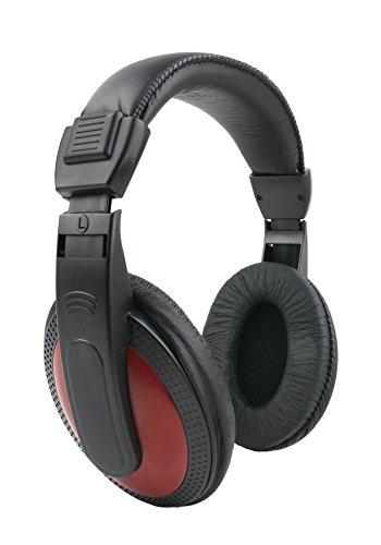 DURAGADGET Schwarz-Rote Stereo-Kopfhörer für Auna/OneConcept/Malone/The Voice/Disney die Eiskönigin Kinder Karaokeanlagen