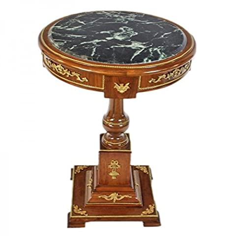 Casa Padrino Baroque table with marble top mahogany / gold H 80 x 55cm - Empire Antique style table - furniture