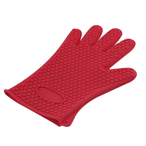 laonBonnie Kitchen Microwave Mitt Insulated Oven Heat Resistant Silicone Glove Oven Pot Holder Baking BBQ Cooking Non-Slip Tool -