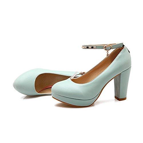 AllhqFashion Damen Hoher Absatz Weiches Material Eingelegt Schnalle Rund Zehe Pumps Schuhe Blau wJZrVQK3vp