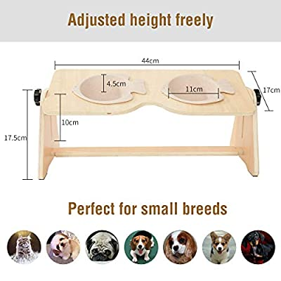 Highkit Adjustable Raised Dog Feeding Bowls with Elevated Pet Bowl Stand, Double Water Food Bowls for cat and small dogs puppy from Highkit