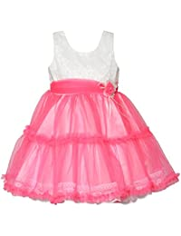 Chipchop Kids Girls Partywear White and Pink Embroidered Net Dress - 1 Year, 2 years, 3 Years, 4 Years, 5 Years