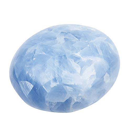 Giugno & ann natural palm stones, cristallo guarigione gemstone terapia senza pietre per meditazione chakra bilanciamento collection celestite