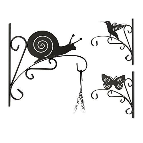 3x Blumenhaken, verschiedene Motive, Blumenampelhalter für Wand, Metall Garten-Deko, schwarz (Tiere) -