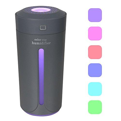 Dricar Mini LED Luftbefeuchter, USB Lampe Ultraschall Zerstäubung 7 Farbe Tasse Nachtlicht 230ml Befeuchter leiser Betrieb, Abschaltautomatik Portable Zerstäuber für Office Auto und Zimmer