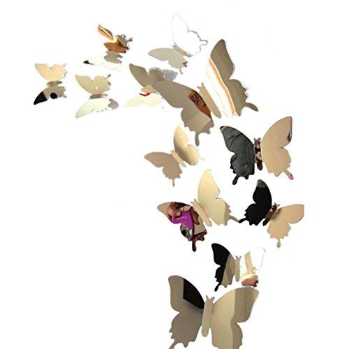 Gaddrt Wandaufkleber Aufkleber Schmetterlinge 3D Spiegel Wand Kunst Home Decors DIY Wand-Aufkleber-Wand-Dekor für Wohnzimmer moderne Hintergrund TV-Decor, Schlafzimmer oder Küche (Spiegel Für Wand-dekor)