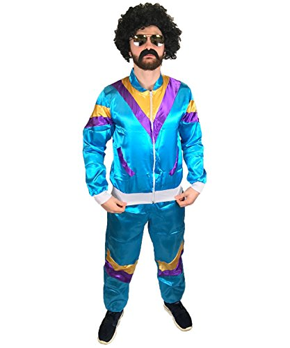 MENS 1980s SCOUSER SHELL SUIT FANCY DRESS COSTUME JIMMY TRACKSUIT STAG DO (XL)