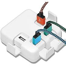 Yosou de 4 Puertos USB Cargador Adaptador de Viaje 40 W 5V/8A Pared Adaptador de Carga Adaptador de Carga para Tabletas y iPhone, iPad Tablet, Samsung Galaxy, HTC, Sony, LG, Nexus, Motorola y etc., Blanco (Color Blanco)