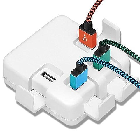 Chargeur USB Secteur Mural Universel Yosou 4 Ports Chargeur multi usb Voyage Chargeur de bureau Mural Prise USB Chargeur for iPhone 6 /iPhone 6s /iPhone 6s Plus, Samsung Galaxy S7 /S7 Edge /S6 et les autres smartphones et tablettes pc -Blanc