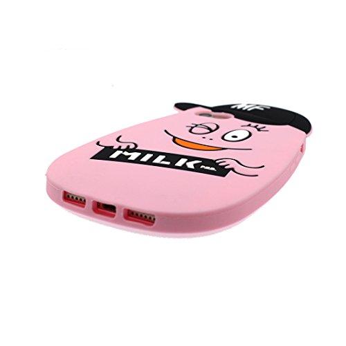 iPhone 7 Custodia, iPhone 7 Custodia Case (4,7 pollici) ( 3D Cartoon Smiley Face baba Nero ) TPU morbido nuovo modello di disegno carino originale gel posteriore flessibile / Graffi Resistenti Rosa