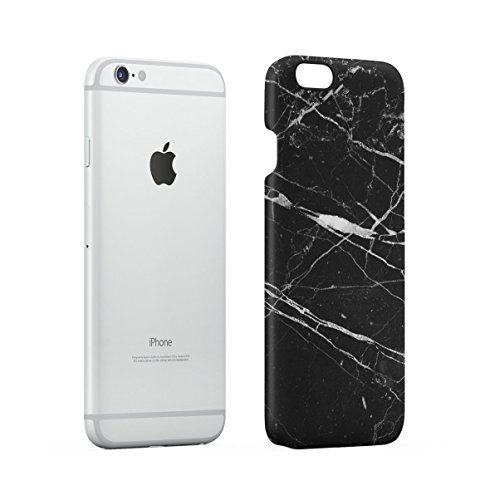 Black Cracked Marble Stone Print Apple iPhone 6 , iPhone 6S Snap-On Hard Plastic Protective Shell Case Cover Custodia Black Cracked