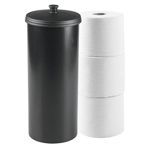 mDesign Dispensador de papel higiénico sin taladro – Decorativo portarrollos de pie – Discreto almacenaje de baño con tapa - Para 3 rollos de papel higiénico – Plástico resistente - Negro