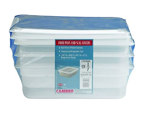 Cambro Set of 3 Translucent Food Pans and Seal Covers