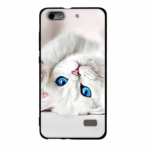 Fubaoda Huawei Honor 4C/G Play Mini Hülle, [Cute Cat] Schwarzer Rand Fashion Creative Design 3D zeitgenössischen Chic Slim Fit Shockproof Flexible Stylish Silikon für Huawei Honor 4C/G Play Mini