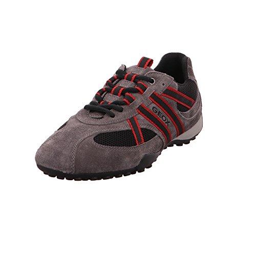 Geox U2207S Snake Sportlicher Herren Sneaker, Schnürhalbschuh, Freizeitschuh, Atmungsaktiv, Lose Einlegesohle, Wechselfußbett Grau (Grey/Black/Red), EU 43 (Sneakers Sportliche)
