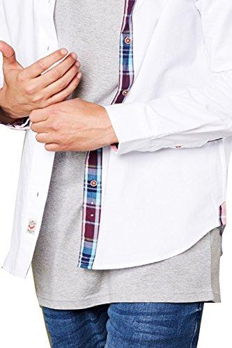 Herren Brave Soul Martin Hemd Designer Geknöpft Kragen Baumwolle Kariert Schlitz Top Weiß
