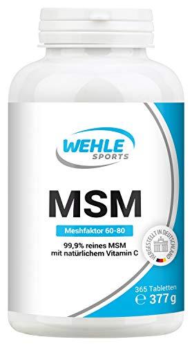 MSM 365 vegane Tabletten (6 Monate) - Extra hochdosiert: 2000mg Methylsulfonylmethan (MSM) Pulver Tagesdosis - Premium: natürliches Vitamin C (Acerola) z.B. für Gelenke*- Laborgeprüft