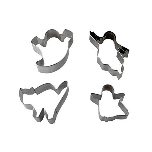 BESTONZON 4 Stück Mini Ausstechformen Cartoon Form Keks Cutter Mold Halloween Dekorieren Prop (Silber)