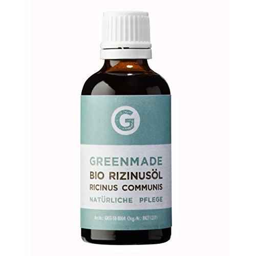 Bio Rizinusöl 50ml - 100{bee8b0eb60d3b38b44bdad6bb196c70959a40e96cad69887642877ffa94583ff} reines, kaltgepresstes Öl von greenmade