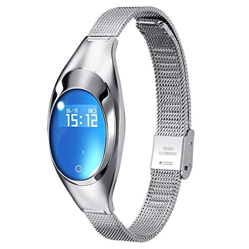 Yallylunn Frauen Blutdruck Blutsauerstoff Herzfrequenzmonitor-Smart Bracelet Watch Metallband Ovaler Touchscreen