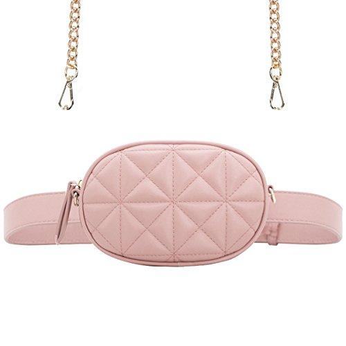CRAZYCHIC - Damen Mode Hüfttasche Gürteltasche Bauchtasche - Ovale Geldbörse Fashion Bumbag - Kleine Mini Umhängetasche Kette Schultertasche - Gesteppte Leder Clutch Bag Brieftasche - Nude Rosa (Synthetik-leder-clutch Geldbörse)