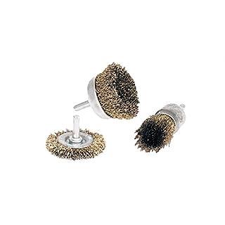 Drahtbürsten-Set für Bohrmaschine [3 Stück - 30-50 - 50 mm] Stahlbürsten Set für Profis | Metallbürste Bohrmaschine | Drahtbürste für Akkuschrauber