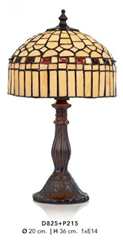 Casa Padrino Tiffany Tischleuchte Durchmesser 20cm, Höhe 36cm Mod6 Mosaik Leuchte Lampe Hockerleuchte