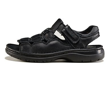 Les Chaussures hommes veau en plein air Sandales cheveux noir/brun Black
