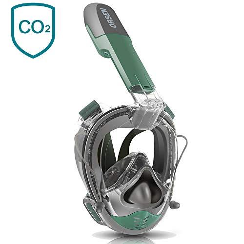 ORSEN Tauchmaske Vollgesichtsmaske, Easybreath Taucherbrille, Schnorchelmaske mit Ohrdruckausgleich Funktion, Action Kamerahaltung und Universalgröße für Alle Erwachsene und Kinder (Grün / Grau1)
