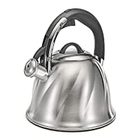 Polder KTH-133-47 Bell Whistling Tea Kettle, 2.6-Quart, Brushed Stainless Steel, 3-Ply Encapsulated Base Heats Water Fast