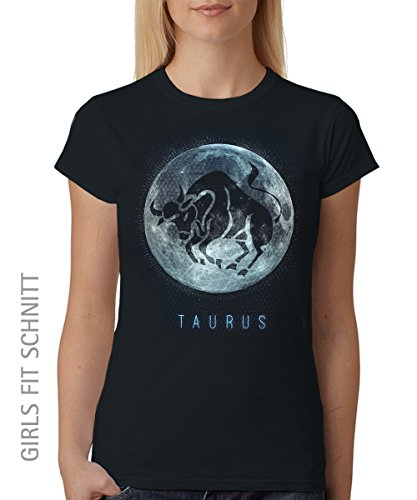 -- Sternzeichen Stier -- Girls T-Shirt auch im Unisex Schnitt Schwarz