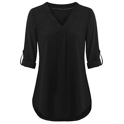 SEWORLD Damen Sport Freizeit Oberteile Bluse Herbst Frauen Beiläufig Aufrollen Top Casual V-Ausschnitt mit Lagen Hemd Blusen(X-c-schwarz,EU-42/CN-L)