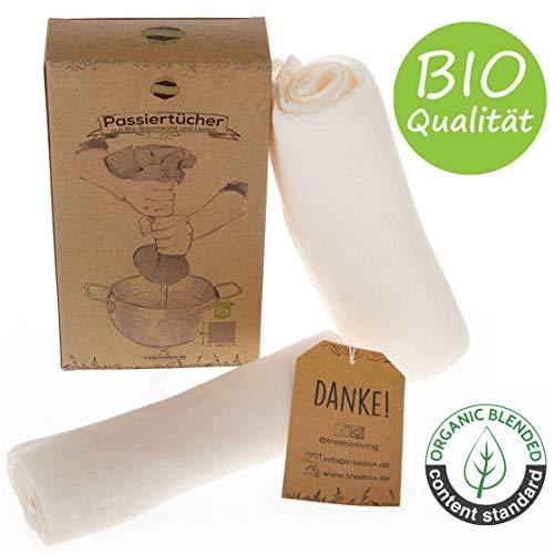TreeBox Reißfeste Passiertücher aus Bio-Baumwolle und Leinen - 2er Set - Besonders fein - Wiederverwendbar und waschbar - Perfekt für Saft und Suppe
