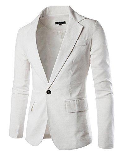 Giacca da uomo blazer casuale formale vestito di affari tailleur giacca bianco l