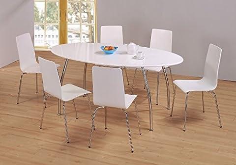 FIJI HIGH GLOSS WHITE OVAL TOP DINING TABLE & SIX HIGH GLOSS CHROME CHAIRS
