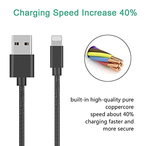 6th Gen USB Double Braided Nylon Lightning Data/& Charging Cable for Apple iPad
