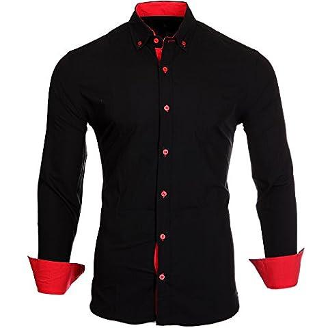 Reslad Herren Hemd Kontrast Look Button-Down-Kragen Langarmhemd RS-7055 Schwarz-Rot XL
