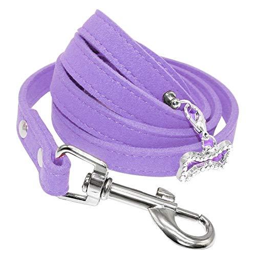 Kleine Hundeleine Weiche Hundeleinen Aus Wildleder for Chihuahua Yorkishire Mops Kleine Hunde Katzen Leine Rosa (Color : Purple, Size : M) -