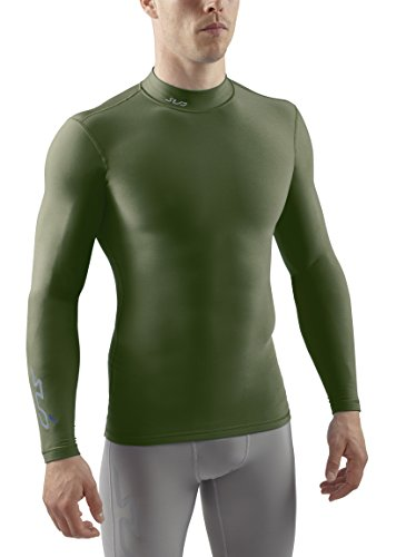 Sub Sports Herren Cold Kompressionsshirt Thermisch Funktionswäsche Base Layer Langarm Mock Stehkragen Grün, XXL -