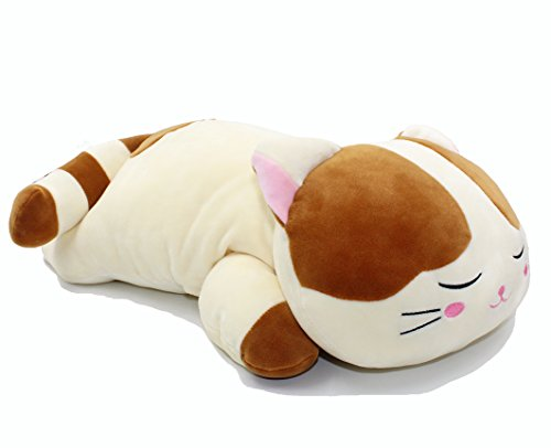 Sleeping Cat Hugging Pillow Stuffed Animals Plush Soft Toy Brown 23.5""